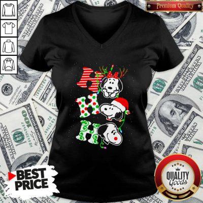 Cute Snoopy's Ho Ho Ho Merry Christmas 2020 V-neck