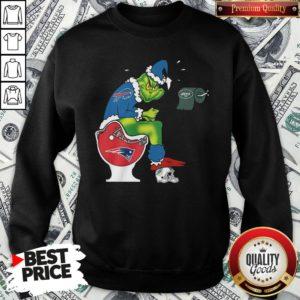 Cute The Grinch Buffalo Bills Shit On Toilet New England Patriots Christmas SweatShirt