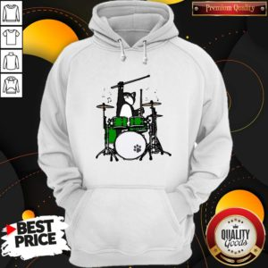Funny Cat Playing Drums Hoodie