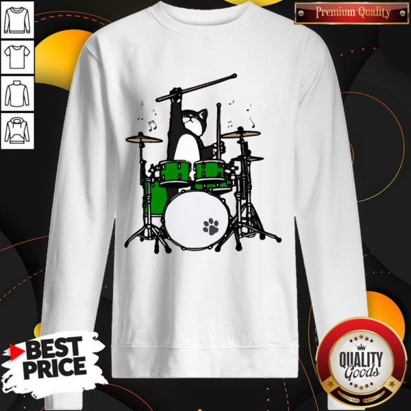 Funny Cat Playing Drums SweatShirt