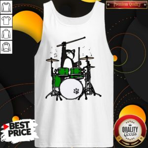 Funny Cat Playing Drums Tank Top