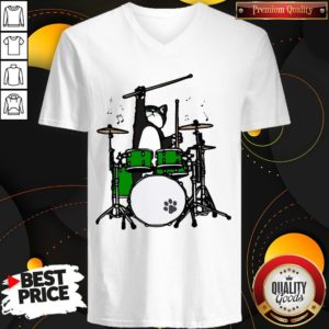 Funny Cat Playing Drums V-neck