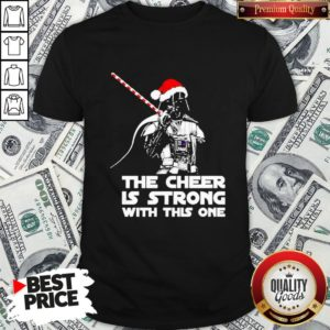 Funny Darth Vader Santa Hat The Cheer Is Strong With This One Christmas Shirt