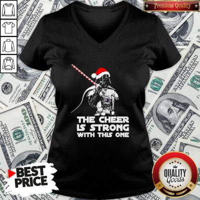 Funny Darth Vader Santa Hat The Cheer Is Strong With This One Christmas V-neck