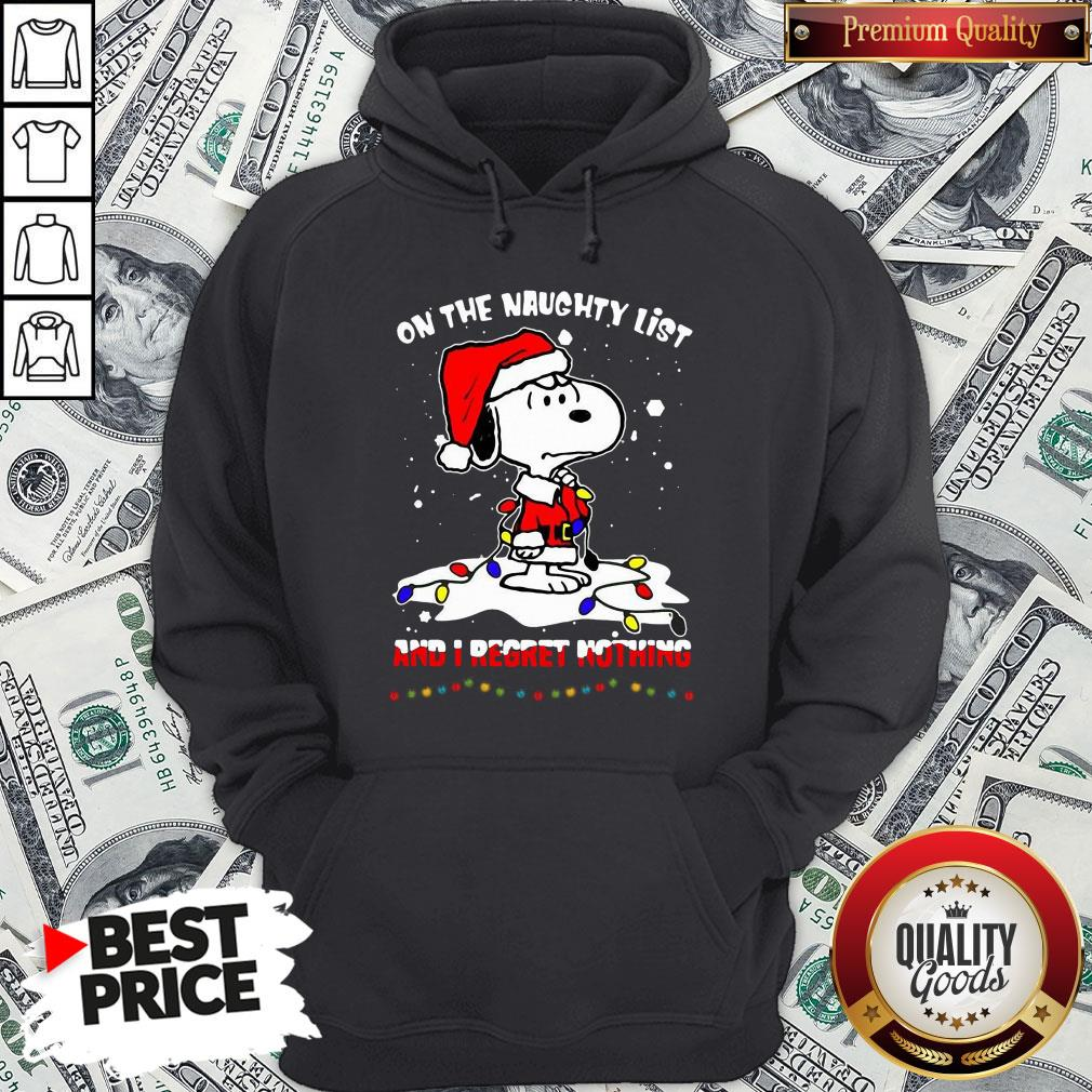 Funny Santa Snoopy Light On The Naughty List And I Regret Nothing Christmas Hoodie