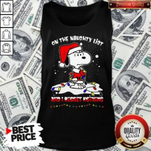 Funny Santa Snoopy Light On The Naughty List And I Regret Nothing Christmas Tank Top