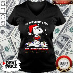 Funny Santa Snoopy Light On The Naughty List And I Regret Nothing Christmas V-neck