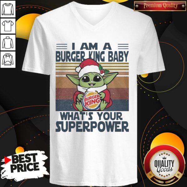 Good Baby Yoda Santa Hug Burger King What's Your Superpower Vintage V-neck