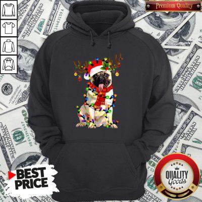Happy Merry Christmas Santa Pug Reindeer Hoodie