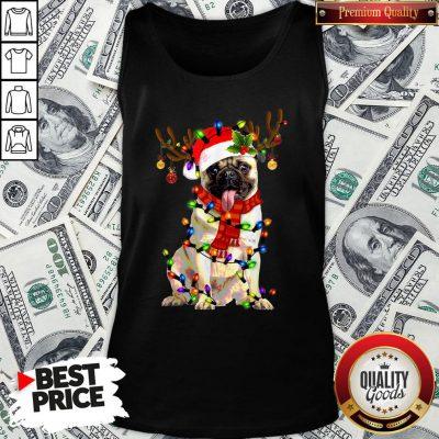 Happy Merry Christmas Santa Pug Reindeer Tank Top