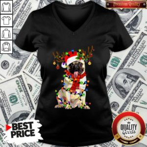 Happy Merry Christmas Santa Pug Reindeer V-neck