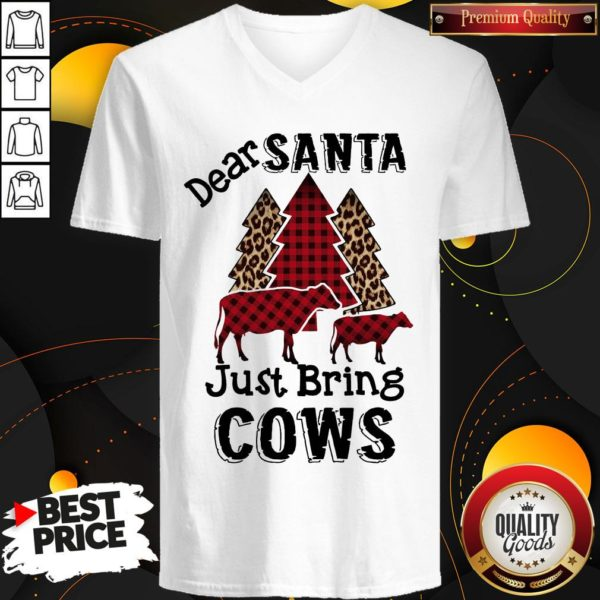 Hot Dear Santa Just Bring Cows V-neck