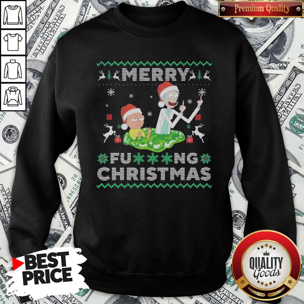 Hot Santa Rick And Morty Merry Fucking Christmas SweatShirt