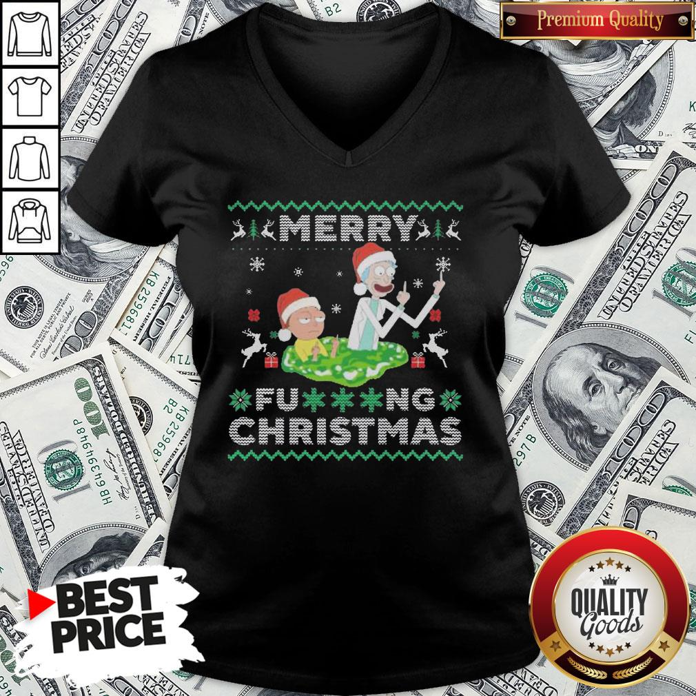 Hot Santa Rick And Morty Merry Fucking Christmas V-neck