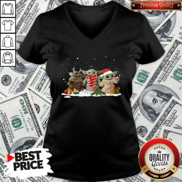 Hot Three Baby Yoda Christmas V-neck