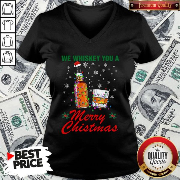 Hot We Whiskey You A Merry Christmas Ugly V-neck