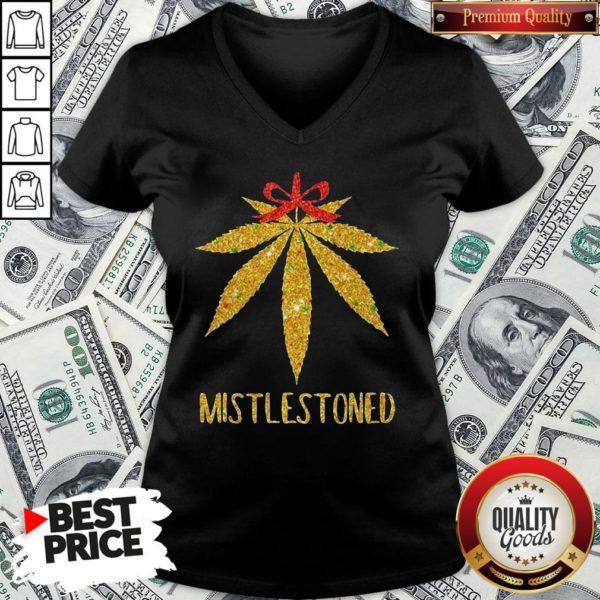 Hot Weed Cannabis Mistlestoned V-neck