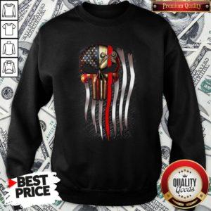 Nice American Flag Proud Machinist Skull SweatShirt