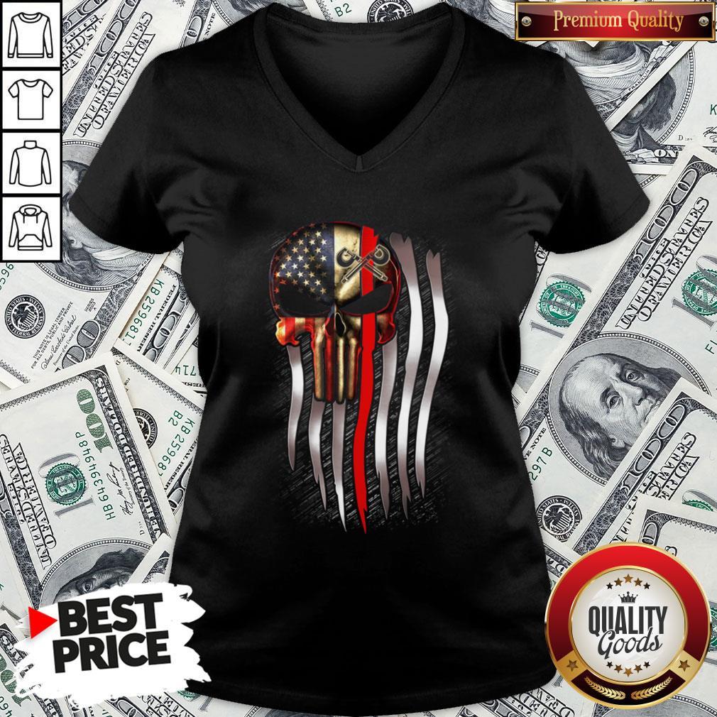 Nice American Flag Proud Machinist Skull V-neck