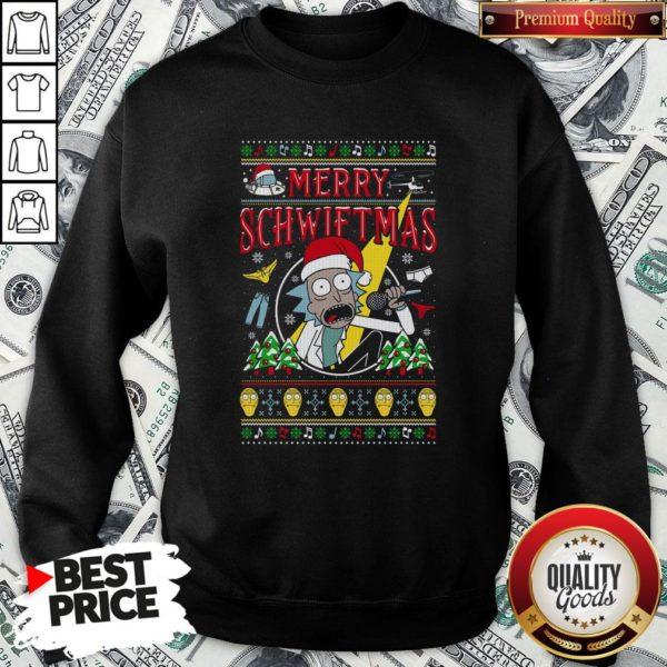 Nice Ugly Christmas Rick And Morty Merry Schwiftmas SweatShirt