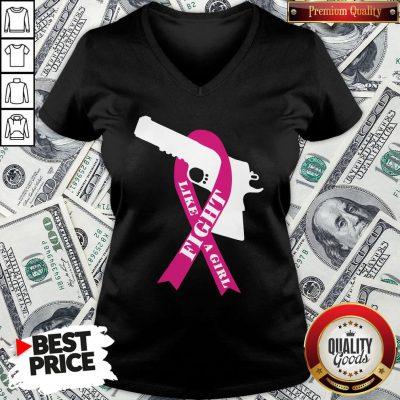 Official Gun Fight Like A Girl Pink V-neck