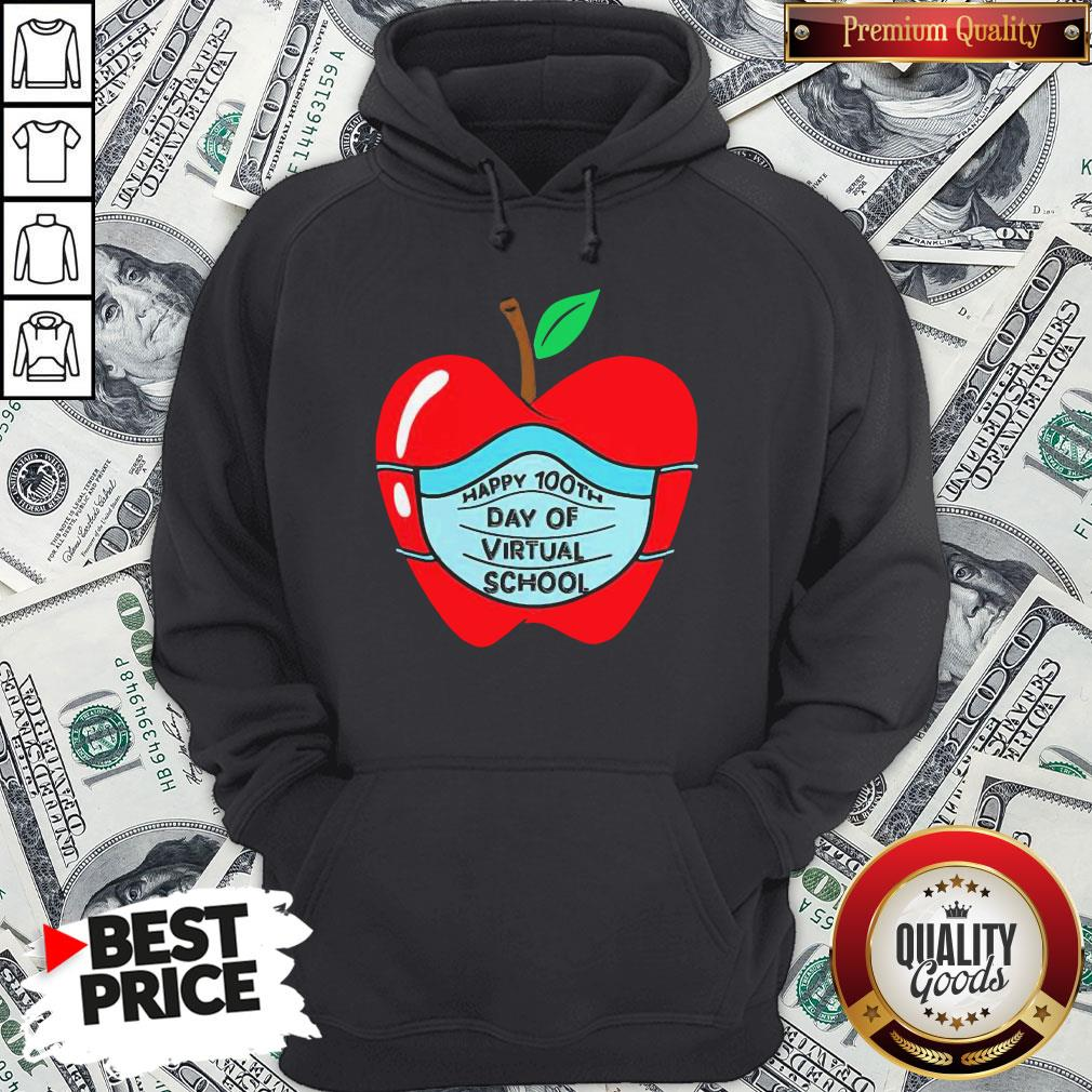 Official Happy 100th Days Of Virtual School Student Apple Wear Mask Hoodie