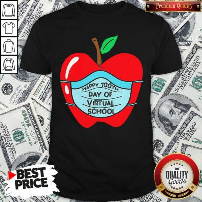 Official Happy 100th Days Of Virtual School Student Apple Wear Mask Shirt