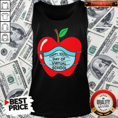 Official Happy 100th Days Of Virtual School Student Apple Wear Mask Tank Top