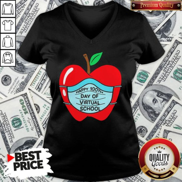 Official Happy 100th Days Of Virtual School Student Apple Wear Mask V-neck