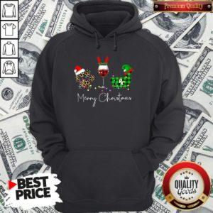 Official Paw Dog Wine Coffee Elf Merry Christmas Hoodie