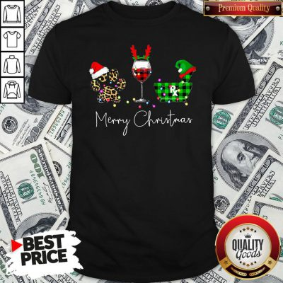 Official Paw Dog Wine Coffee Elf Merry Christmas Shirt
