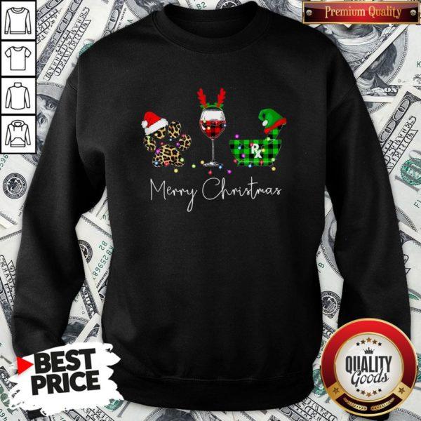 Official Paw Dog Wine Coffee Elf Merry Christmas SweatShirt