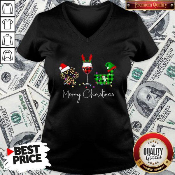 Official Paw Dog Wine Coffee Elf Merry Christmas V-neck