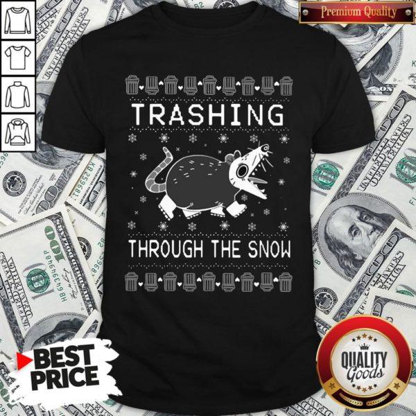 Original Opossum Trashing Through The Snow Ugly Christmas Shirt