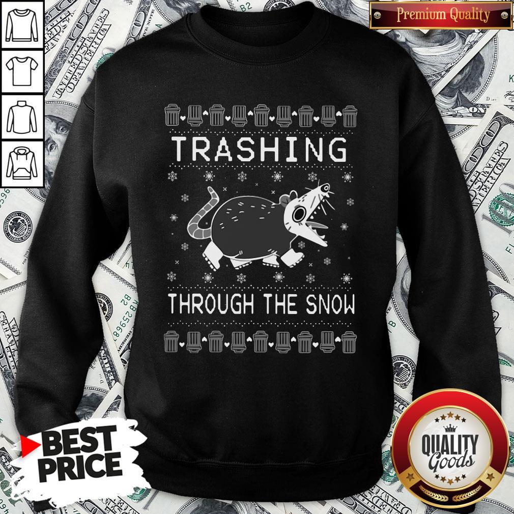 Original Opossum Trashing Through The Snow Ugly Christmas SweatShirt