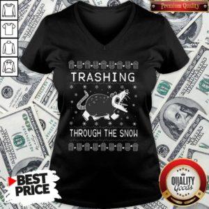 Original Opossum Trashing Through The Snow Ugly Christmas V-neck