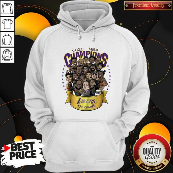 Perfect 2020 NBA Champions Los Angeles Lakers 17 Champs Cartoon Hoodie