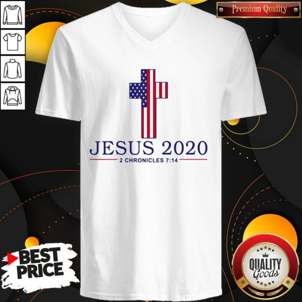 Perfect Jesus 2020 2 Chronicles 7 14 American Flag V-neck