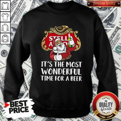 Perfect Santa Claus Drinking Stella Artois It's The Most Wonderful Time For A Beer SweatShirt
