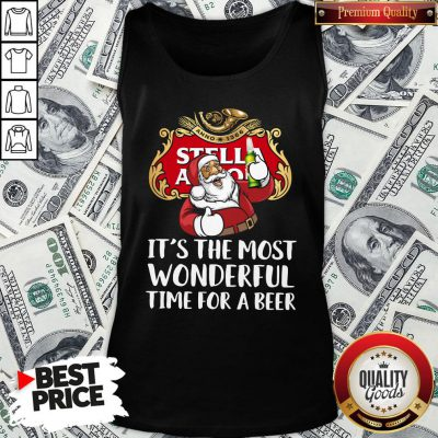 Perfect Santa Claus Drinking Stella Artois It's The Most Wonderful Time For A Beer Tank Top
