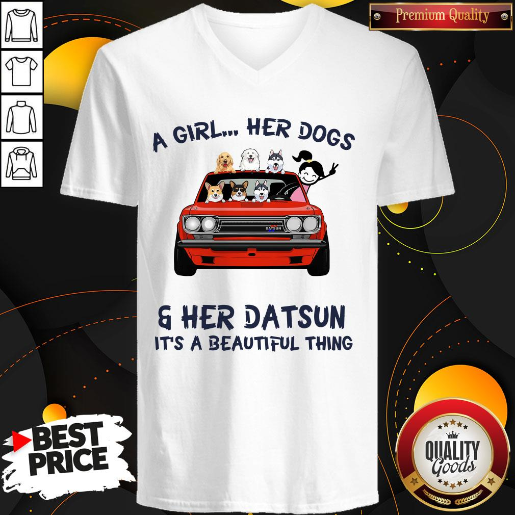 Premium A Girl Her Dog And Her Datsun It's A Beautiful Thing V-neck
