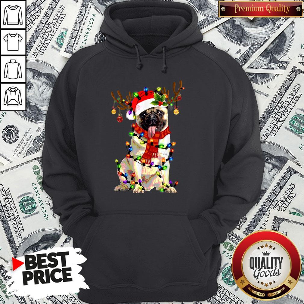 Pretty Santa Pug Reindeer Light Christmas Hoodie