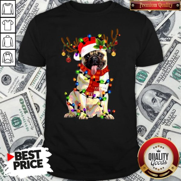 Pretty Santa Pug Reindeer Light Christmas Shirt
