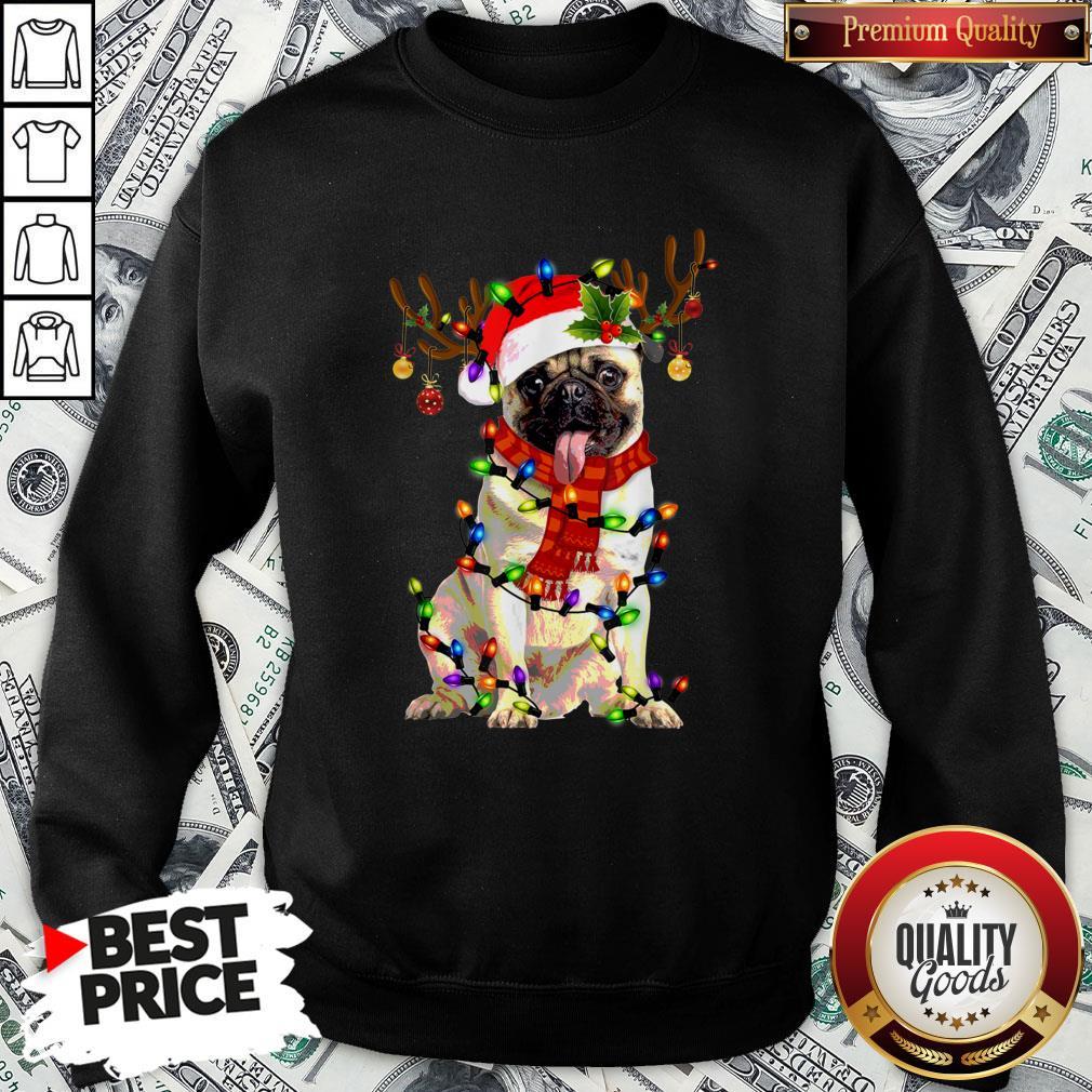 Pretty Santa Pug Reindeer Light Christmas SweatShirt