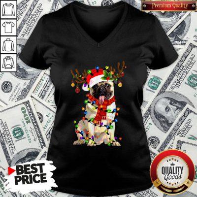Pretty Santa Pug Reindeer Light Christmas V-neck