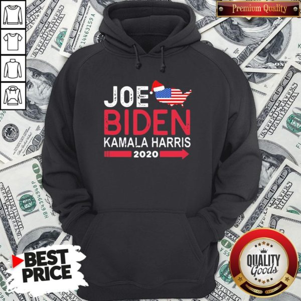 Top Santa Joe Biden Kamala Harris 2020 American Flag Christmas Hoodie