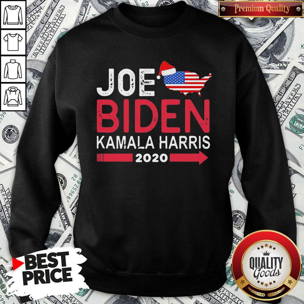 Top Santa Joe Biden Kamala Harris 2020 American Flag Christmas SweatShirt
