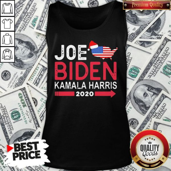 Top Santa Joe Biden Kamala Harris 2020 American Flag Christmas Tank Top