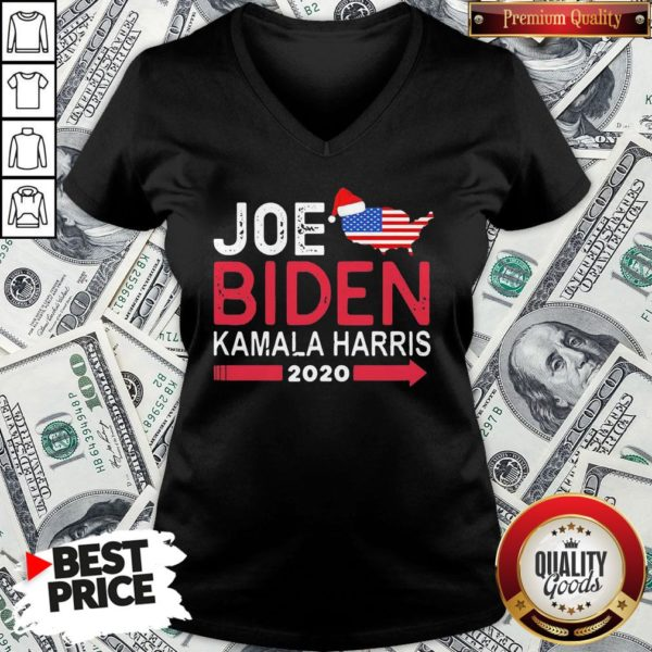 Top Santa Joe Biden Kamala Harris 2020 American Flag Christmas V-neck