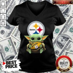Top Star Wars Baby Yoda Hug Pittsburgh Steelers V-neck